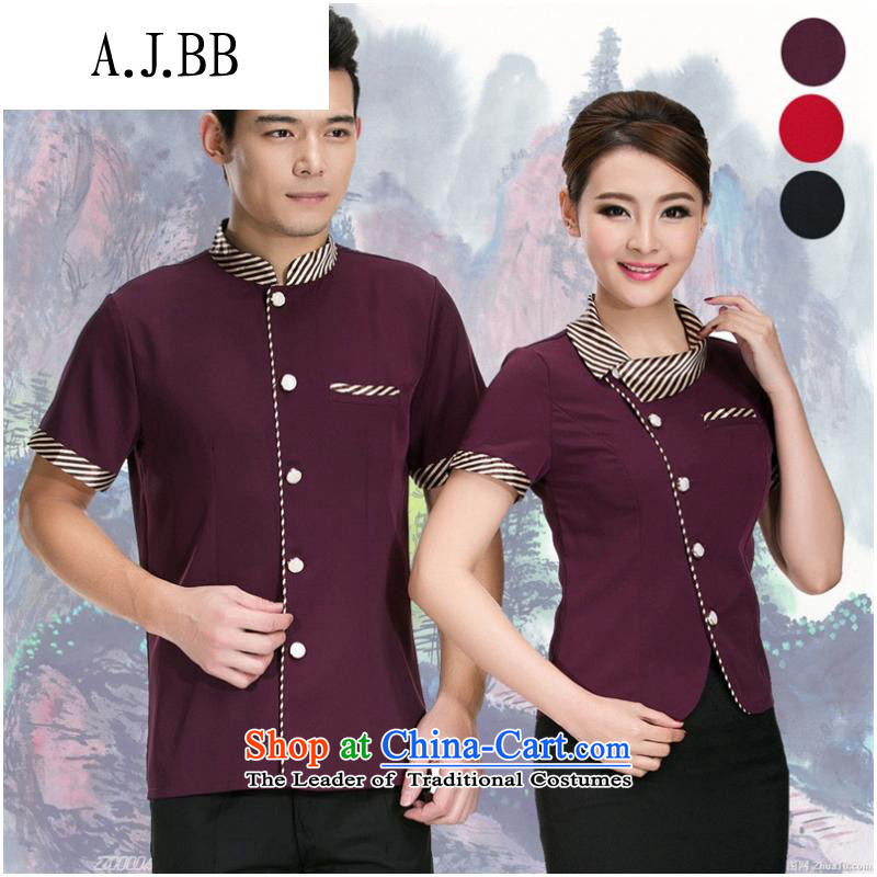 The Secretary for Health related shops * hotel summer clothing women garment Hotel Snack Grill with western restaurant serving workers short-sleeved purple men?XXL