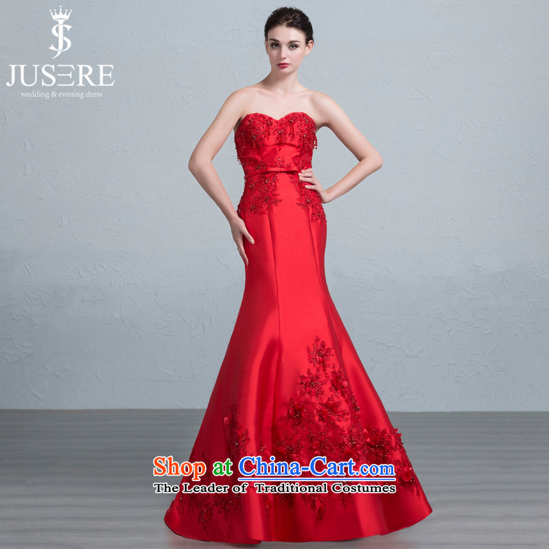 There is a small of Sau San crowsfoot anointed chest wedding dresses bride bows services evening dress will tailor red