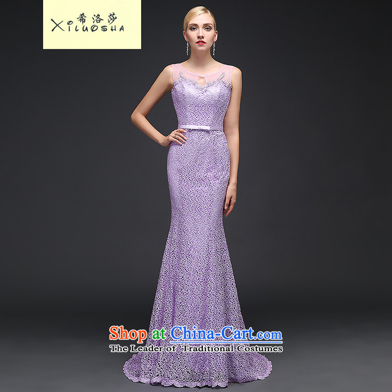 Hillo Lisa (XILUOSHA banquet evening dress) long crowsfoot dress lace tail evening drink service stylish new autumn 2015 Sau San light purple?XL