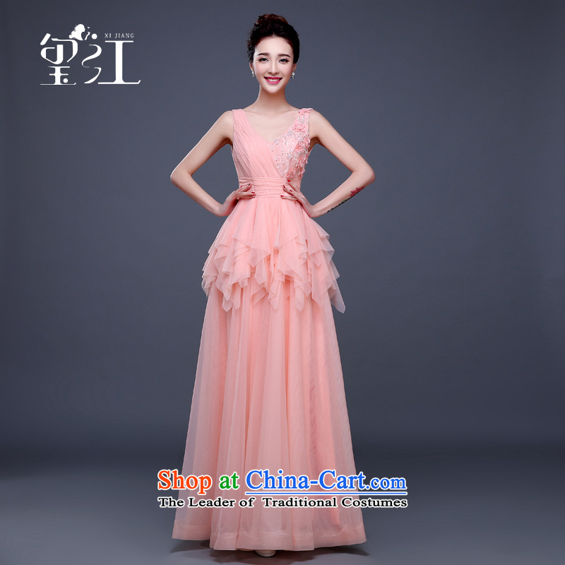 Seal bows dress dress Jiang Winter 2015 new products shoulders V-Neck zipper Sau San large thin graphics long chiffon banquet moderator dress female pink tailored contact customer service