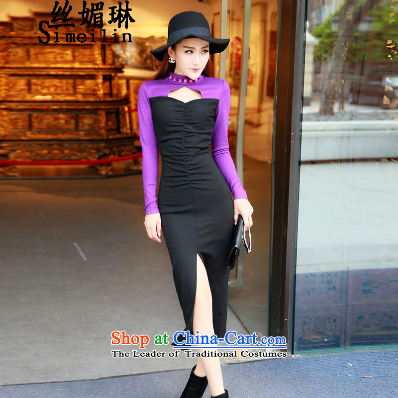 The population of the new 2015 Lin Fall/Winter Collections Korean sexy engraving on Pearl set creases's spell-color dresses dress skirt picture color?M