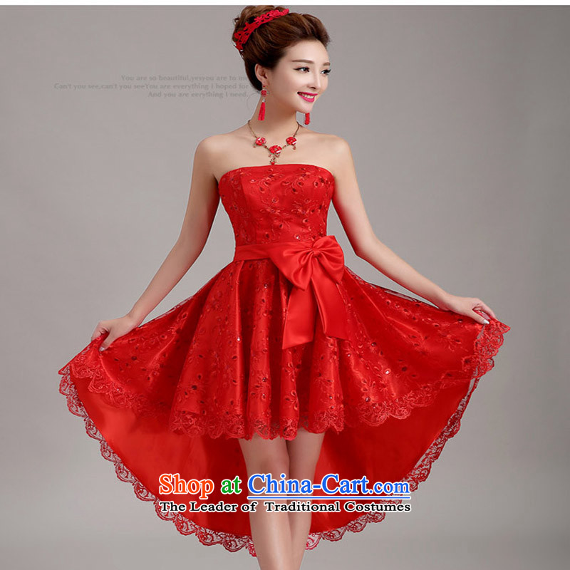 2015 new bride front stub long after the marriage lace red bows to pregnant women small evening dress cheongsam dress female red?S