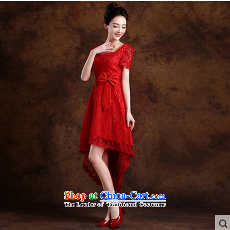 2015 New Red bride wedding dress long evening dresses evening drink service in the irrepressible cuff Sau San dress red?L