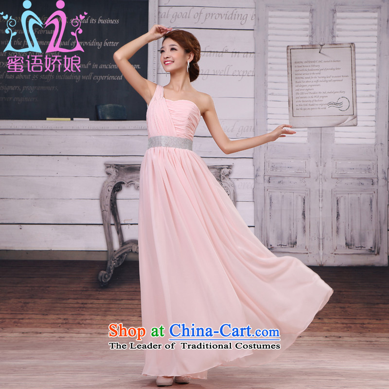 Talk to her?new 2015 bride bridesmaid marriage bows services shoulder evening dresses stars wedding night long, large bridesmaid to customize other color?M