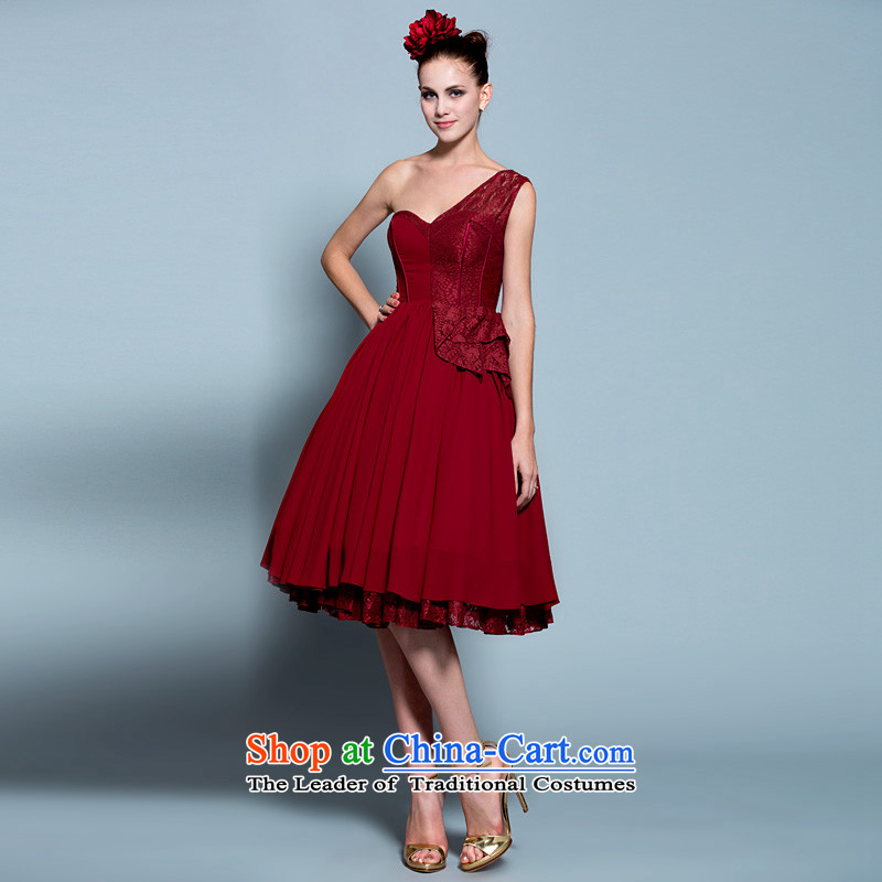 A lifetime of 2015 New shoulder lace bon bon skirt bride services Annual Small dresses drink wine red 20230642 deep red tailored for not returning the not-for-