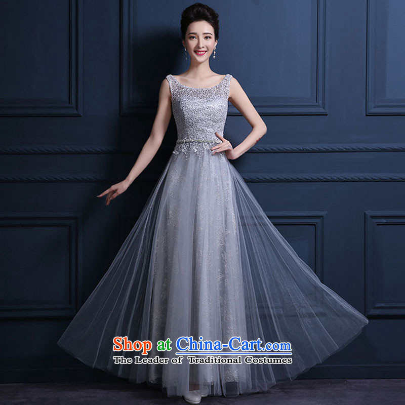 The Korean version of the new 2015 banquet will moderator dress skirt long Sau San evening dresses dresses spring and summer female gray?XXXL do not return Not Switch