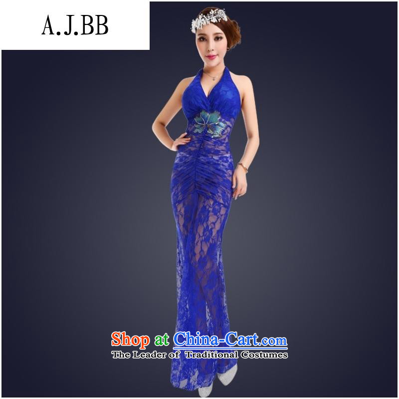 * Hang clothes shops and involving also covered shoulders dresses autumn and winter night club and sexy women small evening dresses long skirt Sau San long gauze fluoroscopy loading Po blue�S