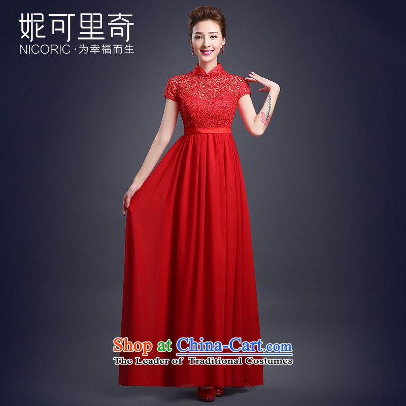 Wedding dress of autumn and winter 2015 new bride Red Dress Top Loin of pregnant women serving large qipao bows quarter red�XL