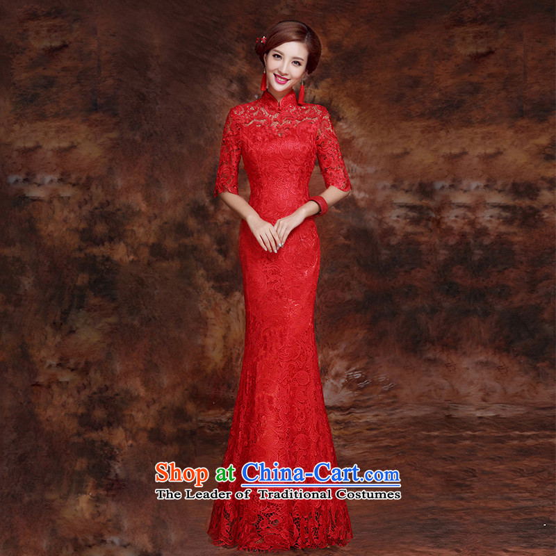 The bride wedding dress bows Services Mr Ronald New 2015 Skirt Red Stylish retro qipao lace Sau San evening dress red long聽M