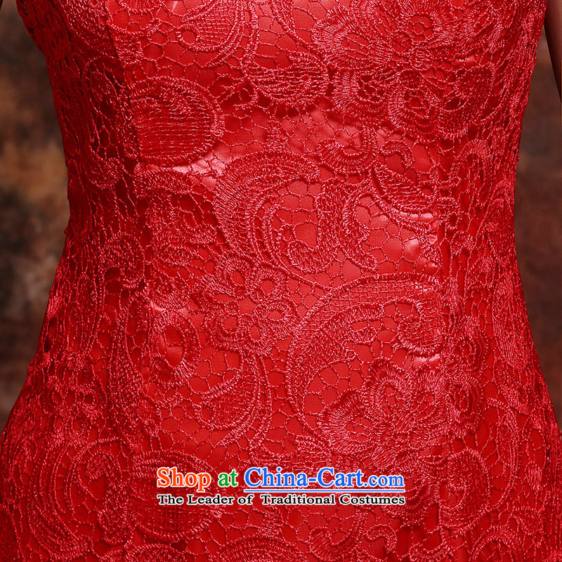 The bride wedding dress bows Services Mr Ronald New 2015 Skirt Red Stylish retro qipao lace Sau San evening dress red long聽M,oco,,, shopping on the Internet