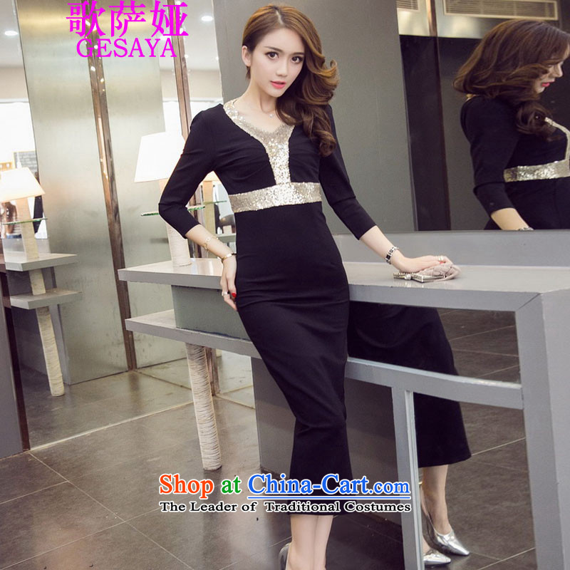 Mr. Song Ah�2015 Autumn load sense of fashion V-Neck back on chip package and Sau San dresses dress long skirt female black�M