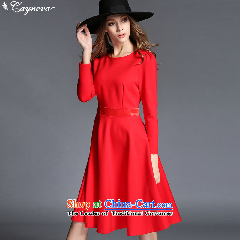 Load New caynova2015 autumn western style round-neck collar large graphics thin dress skirts Sau San Red�S