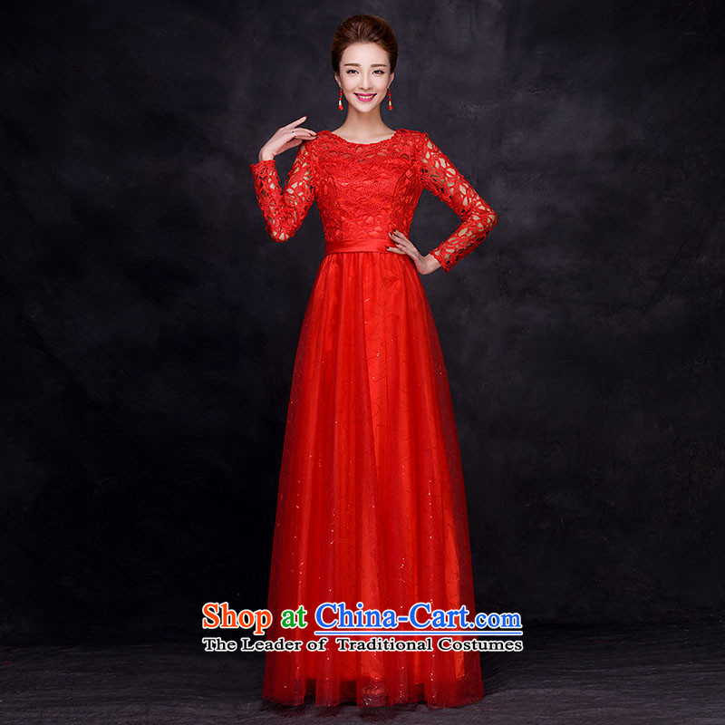 The new 2015 autumn and winter seven long-sleeved bridal dresses marriage bows services wedding dresses long skirt evening dress female red?XL