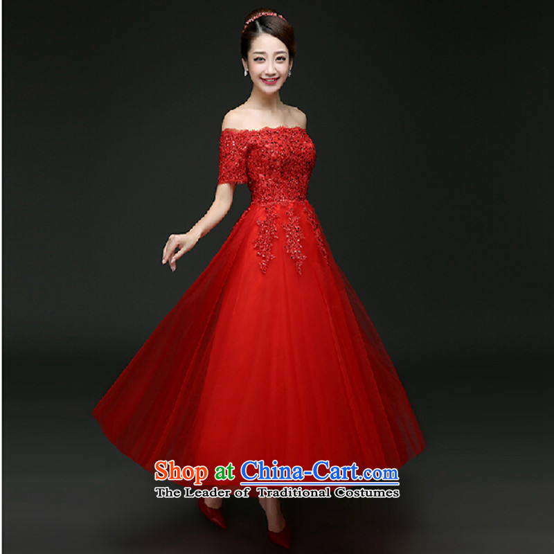 2015 new long-sleeved clothes and long bows of marriage bridesmaid bridal dresses on one field shoulder autumn evening dresses winter red�XL