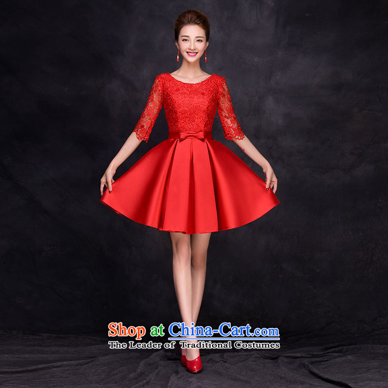 The new 2015 autumn and winter small dress dresses marriages bows service, banquet evening dresses 7 cuff summer red�XXL