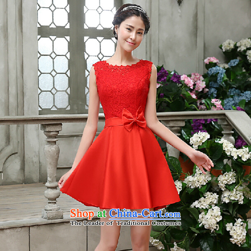 The bride dress bows Service, 2015 New lace red field lead the Korean version of large shoulder Wedding Dress Code Red to skirt do not return Not Switch