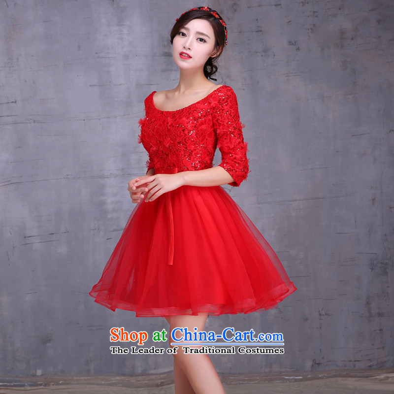 2015 new bride bows services fall short of long long-sleeved Korean large pregnant women married to Sau San bows dress red short M