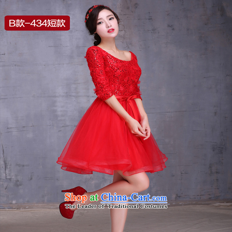2015 new bride bows services fall short of long long-sleeved Korean large pregnant women married to Sau San bows Dress Short,M, Love Red Su-lan , , , shopping on the Internet