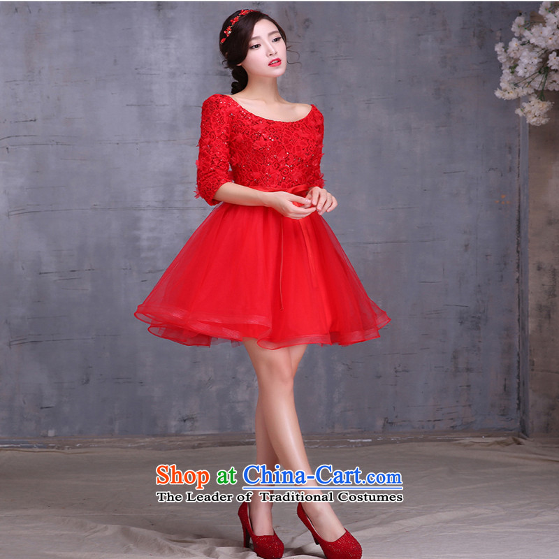 2015 new bride bows services fall short of long long-sleeved Korean large pregnant women married to Sau San bows Dress Short, M, Love Red Su-lan , , , shopping on the Internet