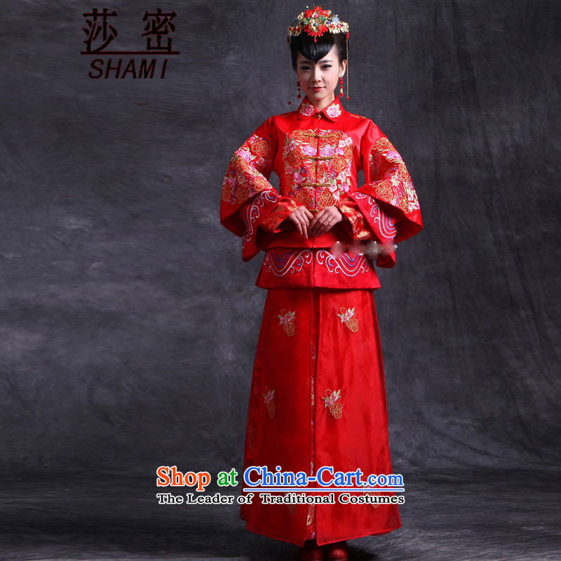 Elizabeth key service bridal dresses Sau Wo Chinese wedding dress red bows wedding dress retro qipao 2015 new kimono Embroidery Apron to Su-Head Ornaments earrings S Breast 94 elasticated skirt