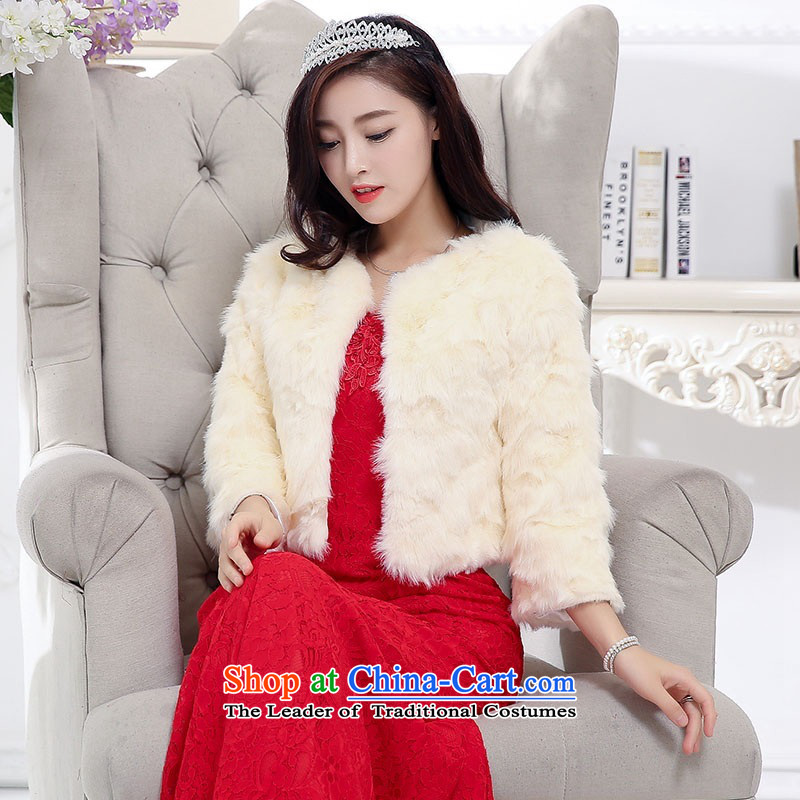 2015 Autumn and Winter Ms. new trendy first field shoulder and chest crowsfoot dresses dress kit temperament gentlewoman Sau San video thin lace long skirt rabbit woolen shawl two kits wedding + shawl�XL