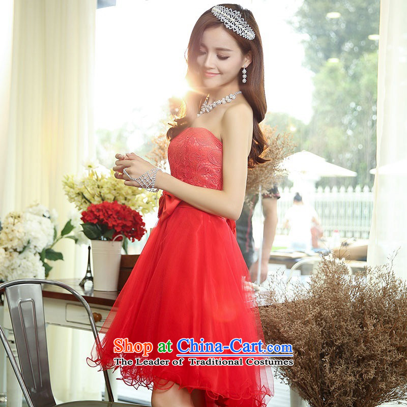 2015 Autumn and winter new temperament gentlewoman anointed chest lace dresses evening dresses Sau San video thin foutune gauze stitching bon bon skirt rabbit hair shawl two kits princess skirt RED?M