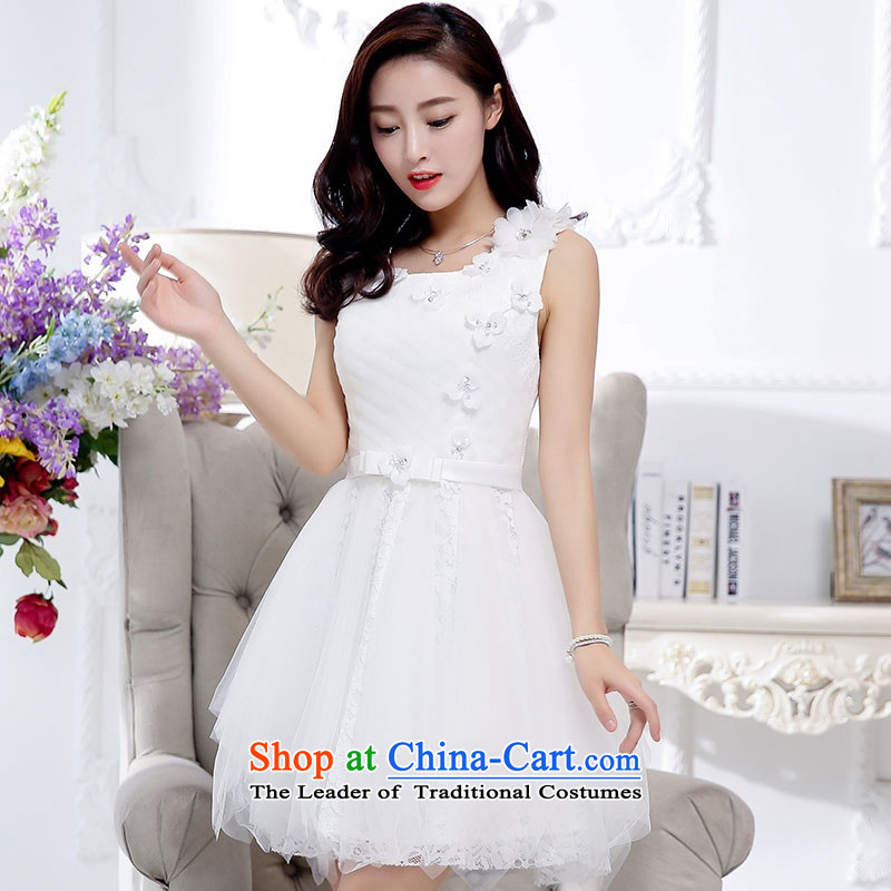 2015 Autumn and Winter, noble and elegant lace dresses bridal services in evening dress long temperament lady flowers adorned thin graphics Sau San Princess skirt bon bon skirt white?L