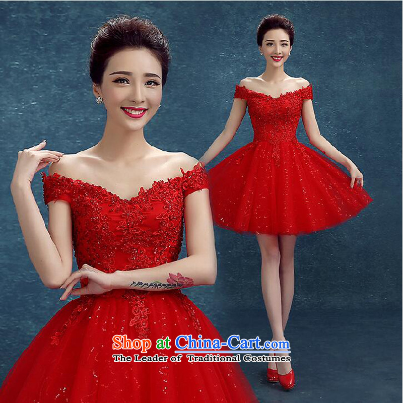 The following new paragraph on 2015 red word fashion shoulder lace marriage small dress bridesmaid evening dress bows service, Red�XXL