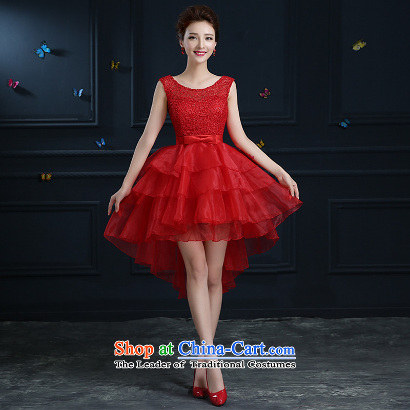 The bride wedding dress bows services 2015 new red lace evening dress short of a field to shoulder red do not return Not Switch