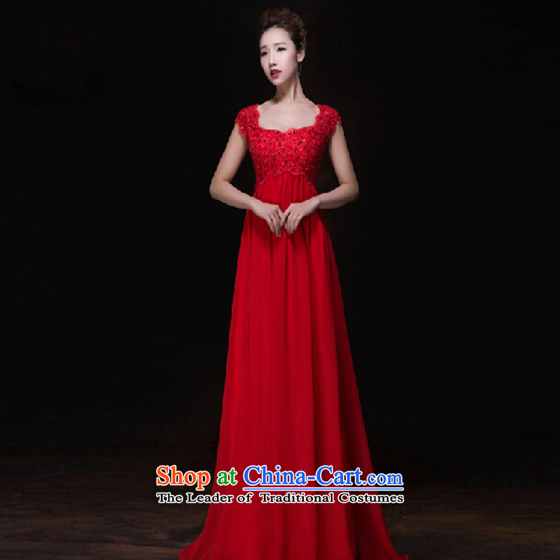 Toasting champagne bride services 2015 Autumn new stylish long pregnant women Wedding Dress Short of red banquet evening dress red long�XL