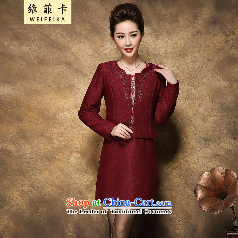 D FICAT�  2015 �large upscale wedding MOM pack installed package autumn dresses to a wedding banquet married middle-aged moms dark red�M