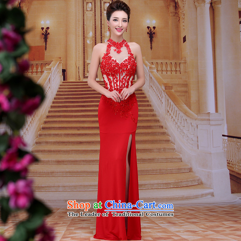 Tim hates makeup and 2015 New Red Dress long bride wedding dress winter wedding dresses red engraving bows to the moderator clothing LF008 RED?S