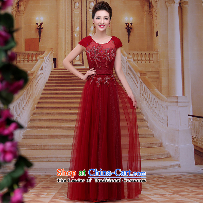 Tim hates makeup and 2015 New Red Dress long marriages bows services wedding dresses winter bride dress evening dress LF012 under the auspices of the annual session of the dark red tailored does not allow