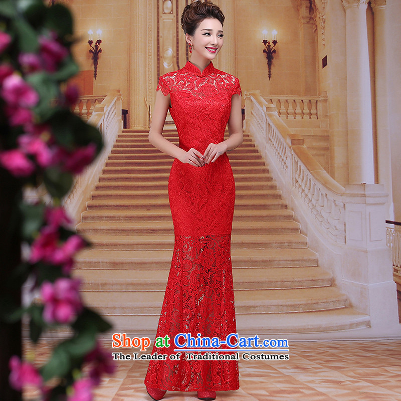 Tim hates makeup and new cheongsam dress lace long marriages bows services wedding dresses red winter package and package the bride dress suit LF014 Sau San Red�XL