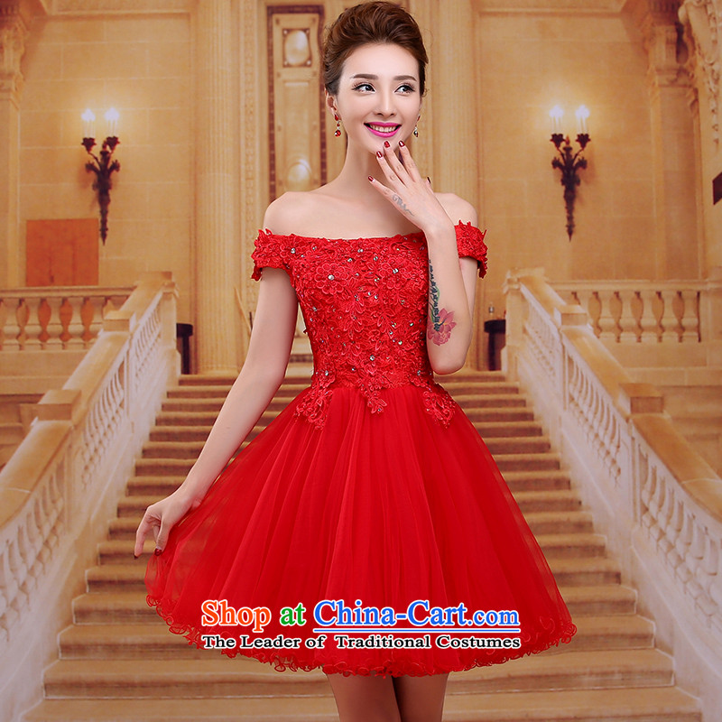 Tim red makeup bridesmaids marriages bows Annual Dinner of the short, Wedding 2015 new word shoulder short skirts bride dress evening dresses LF060 RED?L