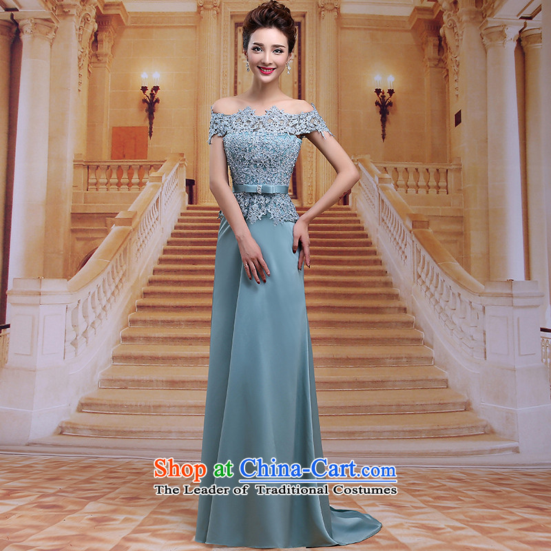 Tim hates makeup and 2015 New evening dresses long marriages bows services wedding dresses winter red dress dress bride dinner lace LF022 GREEN�XL
