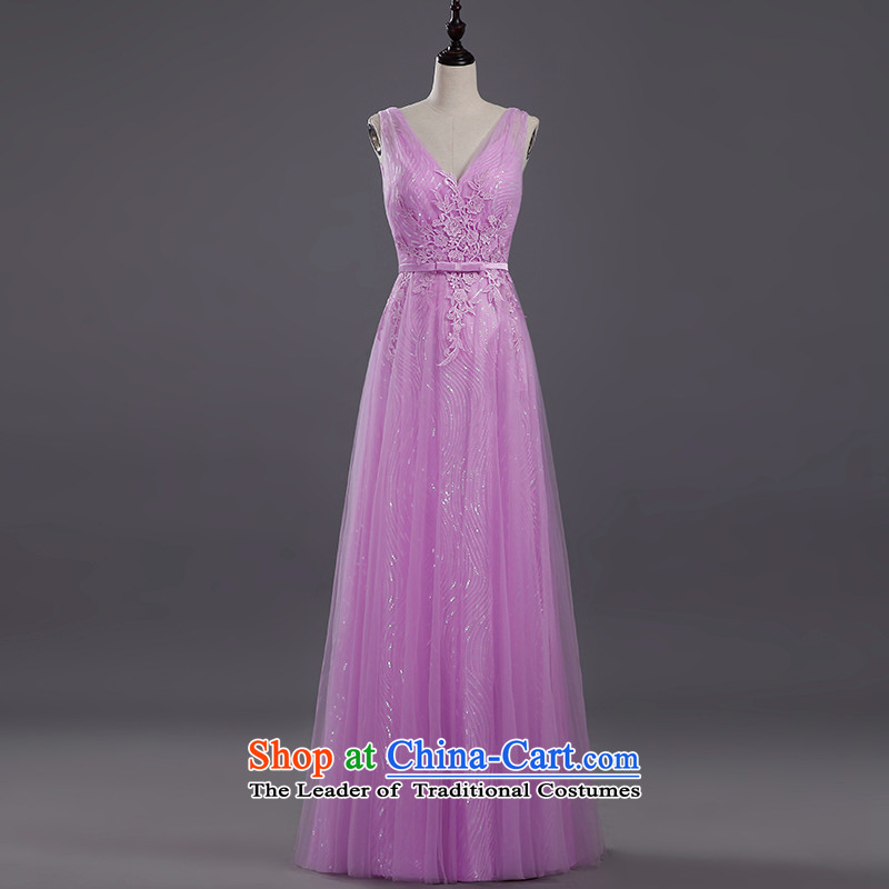 Tim hates makeup and the new red winter evening dresses long marriages bows services wedding dresses red long service annual clothing LF017 bows light purple?M