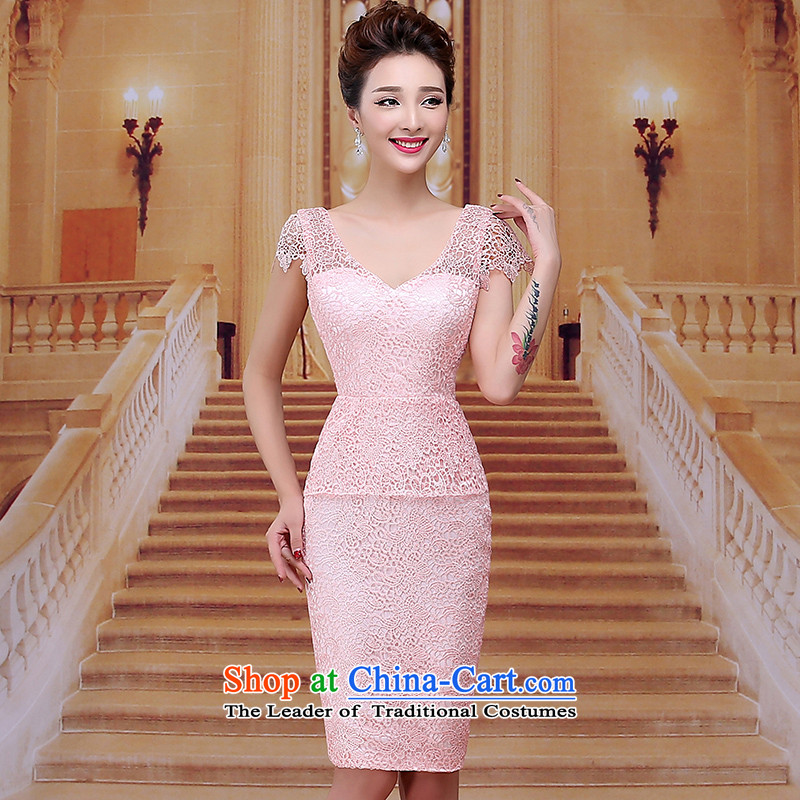 Tim red makeup bridesmaids new evening dresses package shoulder short skirts marriages bows services wedding dresses Red Dress Winter Package and bride short skirts LF016 pink聽XL