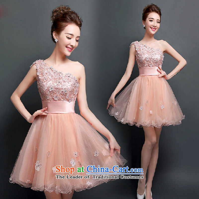 Click New dresses shoulder 2015 autumn and winter lace marriages bows services short dinner bridesmaid dresses video thin meat pink?M