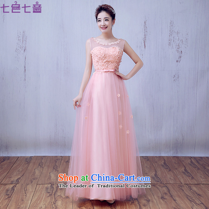 7 7 color tone?2015 New Evening Dress Short of married women banquet dresses red bows of autumn and winter clothing dress?L056?light pink?S
