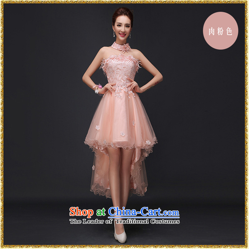 2015 Autumn and Winter, before the new short long after wiping the chest short) Bride bridesmaid evening drink served girl marries small dress meat pink�M