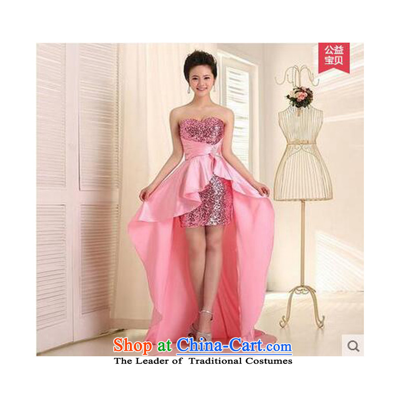 On the following evening dress 2015 new bride bows and chest trendy serving short long after the moderator pink dresses?XL