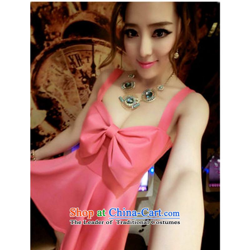 2015 sexy bow tie dresses nightclubs and sexy female Sau San video thin dresses autumn and winter night ktv miss sauna bath technicians working dress pink�L
