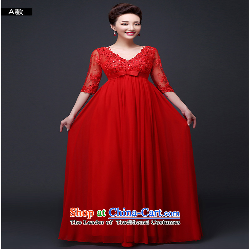 However service new autumn 2015 Red long evening dresses Top Loin of pregnant women marriages wedding dresses in large red winter) XXXL do not return the Cuff Not Switch