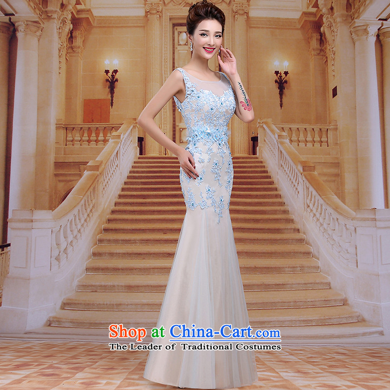 Tim hates makeup and new evening dresses winter marriages bows services wedding dresses long stylish Korean bridal dresses Sau San dinner moderator clothing LF026 skyblue tailored does not allow