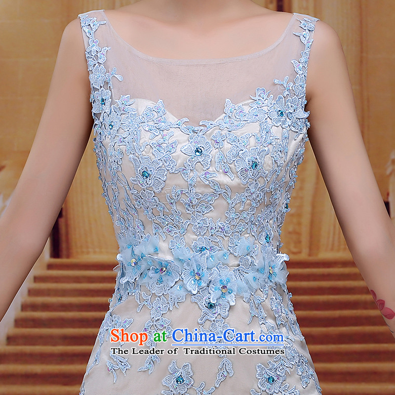 Tim hates makeup and new evening dresses winter marriages bows services wedding dresses long stylish Korean bridal dresses Sau San dinner moderator clothing LF026 skyblue tailored does not allow, Tim hates makeup and shopping on the Internet has been pressed.