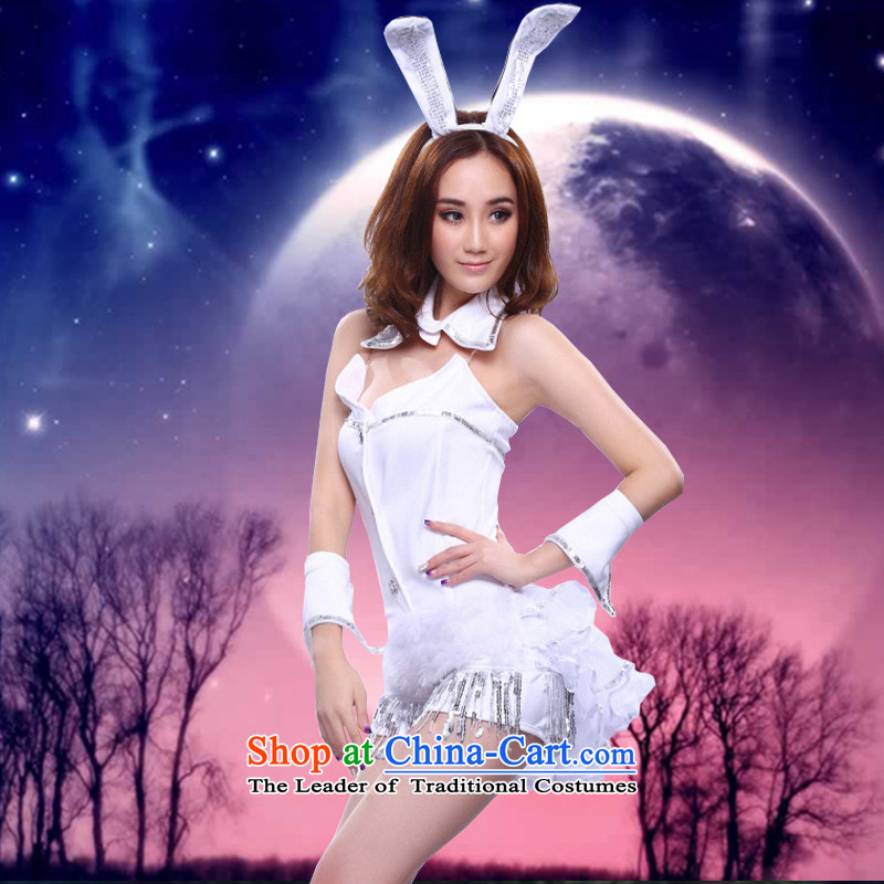 2015 new stylish sexy body Christmas and girl clothing uniforms temptation role play rabbit stage load ds will dance jazz dance services white?S