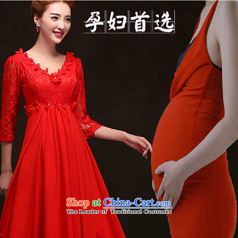 2015 new fall inside the bride red wedding dresses dress long high short of pregnant women married waist bows to red long made no refund is not shifting