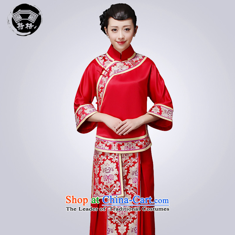 Princess Returning Pearl 2015 New-soo qipao wo marriage celebration service women serving drink Tang Dynasty Chinese woman dress RED M