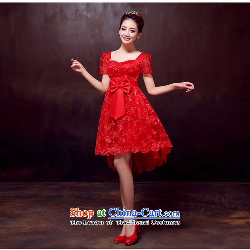 2015 Spring New red lace bridal wedding dress evening dresses pregnant women high toasting champagne waist front stub service long after the RED�M